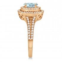 Double Halo Diamond & Aquamarine Engagement Ring 14K Rose Gold 1.34ctw