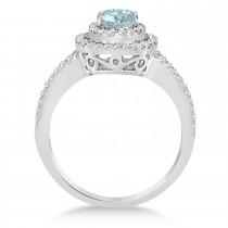 Double Halo Diamond & Aquamarine Engagement Ring 14K White Gold 1.34ctw