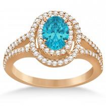 Double Halo Diamond & Blue Diamond Engagement Ring 14K Rose Gold 1.34ctw