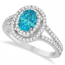 Double Halo Diamond & Blue Diamond Engagement Ring 14K White Gold 1.34ctw