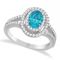 Double Halo Diamond & Blue Diamond Engagement Ring 14K White Gold 1.34ctw