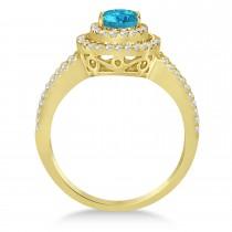 Double Halo Diamond & Blue Diamond Engagement Ring 14K Yellow Gold 1.34ctw