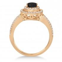 Double Halo Diamond & Black Diamond Engagement Ring 14K Rose Gold 1.34ctw