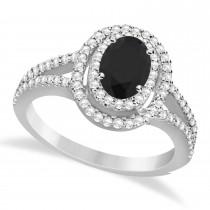 Double Halo Diamond & Black Diamond Engagement Ring 14K White Gold 1.34ctw