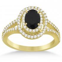 Double Halo Diamond & Black Diamond Engagement Ring 14K Yellow Gold 1.34ctw