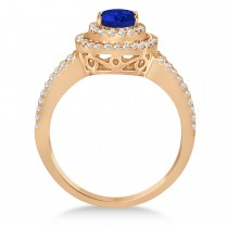 Double Halo Diamond & Blue Sapphire Engagement Ring 14K Rose Gold 1.34ctw