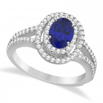 Double Halo Diamond & Blue Sapphire Engagement Ring 14K White Gold 1.34ctw