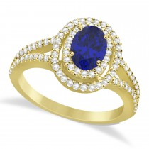 Double Halo Diamond & Blue Sapphire Engagement Ring 14K Yellow Gold 1.34ctw