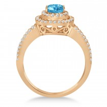Double Halo Diamond & Blue Topaz Engagement Ring 14K Rose Gold 1.34ctw