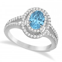 Double Halo Diamond & Blue Topaz Engagement Ring 14K White Gold 1.34ctw
