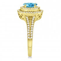 Double Halo Diamond & Blue Topaz Engagement Ring 14K Yellow Gold 1.34ctw