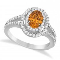 Double Halo Diamond & Citrine Engagement Ring 14K White Gold 1.34ctw