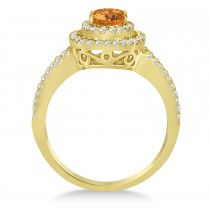 Double Halo Diamond & Citrine Engagement Ring 14K Yellow Gold 1.34ctw