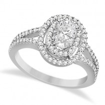 Double Halo Diamond Engagement Ring 14K White Gold 1.34ctw