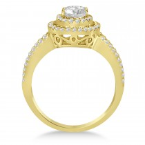 Double Halo Diamond Engagement Ring 14K Yellow Gold 1.34ctw