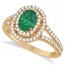 Double Halo Diamond & Emerald Engagement Ring 14K Rose Gold 1.34ctw