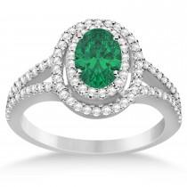 Double Halo Diamond & Emerald Engagement Ring 14K White Gold 1.34ctw