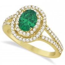 Double Halo Diamond & Emerald Engagement Ring 14K Yellow Gold 1.34ctw