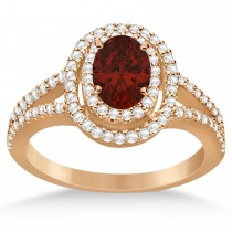 Double Halo Diamond & Garnet Engagement Ring 14K Rose Gold 1.34ctw