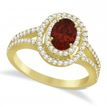 Double Halo Diamond & Garnet Engagement Ring 14K Yellow Gold 1.34ctw