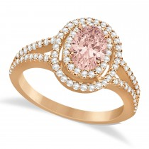 Double Halo Diamond & Morganite Engagement Ring 14K Rose Gold 1.34ctw