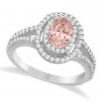 Double Halo Diamond & Morganite Engagement Ring 14K White Gold 1.34ctw
