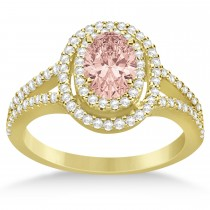 Double Halo Diamond & Morganite Engagement Ring 14K Yellow Gold 1.34ctw