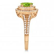 Double Halo Diamond & Peridot Engagement Ring 14K Rose Gold 1.34ctw