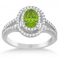 Double Halo Diamond & Peridot Engagement Ring 14K White Gold 1.34ctw
