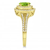 Double Halo Diamond & Peridot Engagement Ring 14K Yellow Gold 1.34ctw