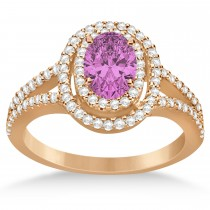 Double Halo Diamond & Pink Sapphire Engagement Ring 14K Rose Gold 1.34ctw