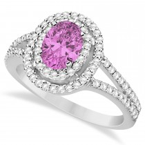 Double Halo Diamond & Pink Sapphire Engagement Ring 14K White Gold 1.34ctw