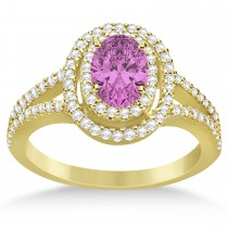 Double Halo Diamond & Pink Sapphire Engagement Ring 14K Yellow Gold 1.34ctw