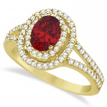 Double Halo Diamond & Ruby Engagement Ring 14K Yellow Gold 1.34ctw