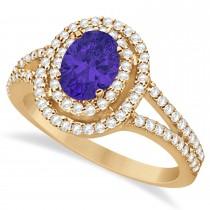 Double Halo Diamond & Tanzanite Engagement Ring 14K Rose Gold 1.34ctw