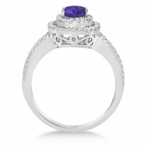 Double Halo Diamond & Tanzanite Engagement Ring 14K White Gold 1.34ctw