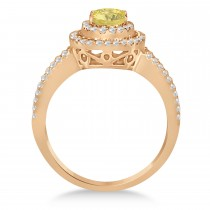 Double Halo Diamond & Yellow Diamond Engagement Ring 14K Rose Gold 1.34ctw