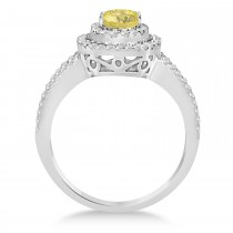 Double Halo Diamond & Yellow Diamond Engagement Ring 14K White Gold 1.34ctw