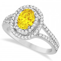 Double Halo Diamond & Yellow Sapphire Engagement Ring 14K White Gold 1.34ctw