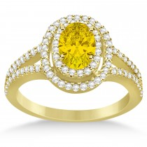 Double Halo Diamond & Yellow Sapphire Engagement Ring 14K Yellow Gold 1.34ctw