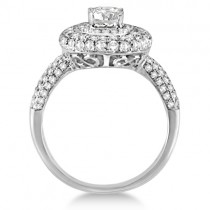 Oval Cut Moissanite & Diamond Double Halo Ring 14K W. Gold 2.09ctw