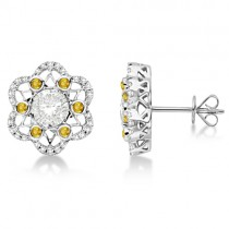 Moissanite, Yellow Sapphire & Diamond Stud Earrings 14K W. Gold 0.70ctw