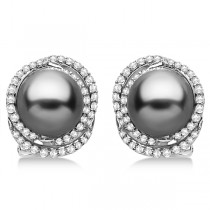Tahitian Cultured Pearl & Diamond Stud Earrings 14K White Gold (9mm)