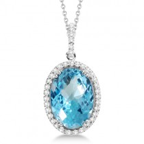 Diamond and Swiss Blue Topaz Pendant Necklace 14k White Gold (7.88ct)
