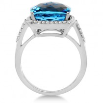 Checkerboard Swiss Blue Topaz & Diamond Halo Ring 14K W. Gold 8.75tcw