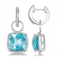 Square Blue Topaz & Diamond Halo Drop Earrings 14K White Gold 9.04ctw
