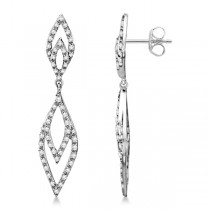 Ladies Diamond Hanging Drop Earrings in 14K White Gold 0.50ctw
