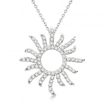 Diamond Sunburst Necklace in 14k White Gold (0.40ct)