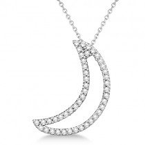 Diamond Crescent Moon Pendant Necklace 14k White Gold (0.25ct)