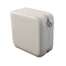 Faux Leather Jewelry Box in Ivory w/ Interior Mirror, Travel Pouch, Storage